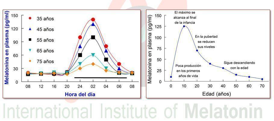 Gráfica producción de melatonina